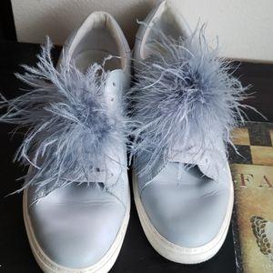 Zara grey sneakers feather poof